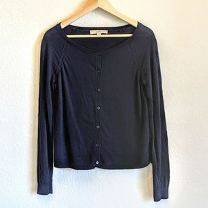 Loft Navy Blue Button Scoop Neck Cardigan Small
